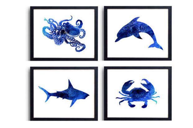 Set of 4 Prints Octopus, dolphin, crab, shark Watercolor Nautical Art, Beach Art Coastal Decor, Sea Life Art, Bathroom Decor, Ocean Art *34*