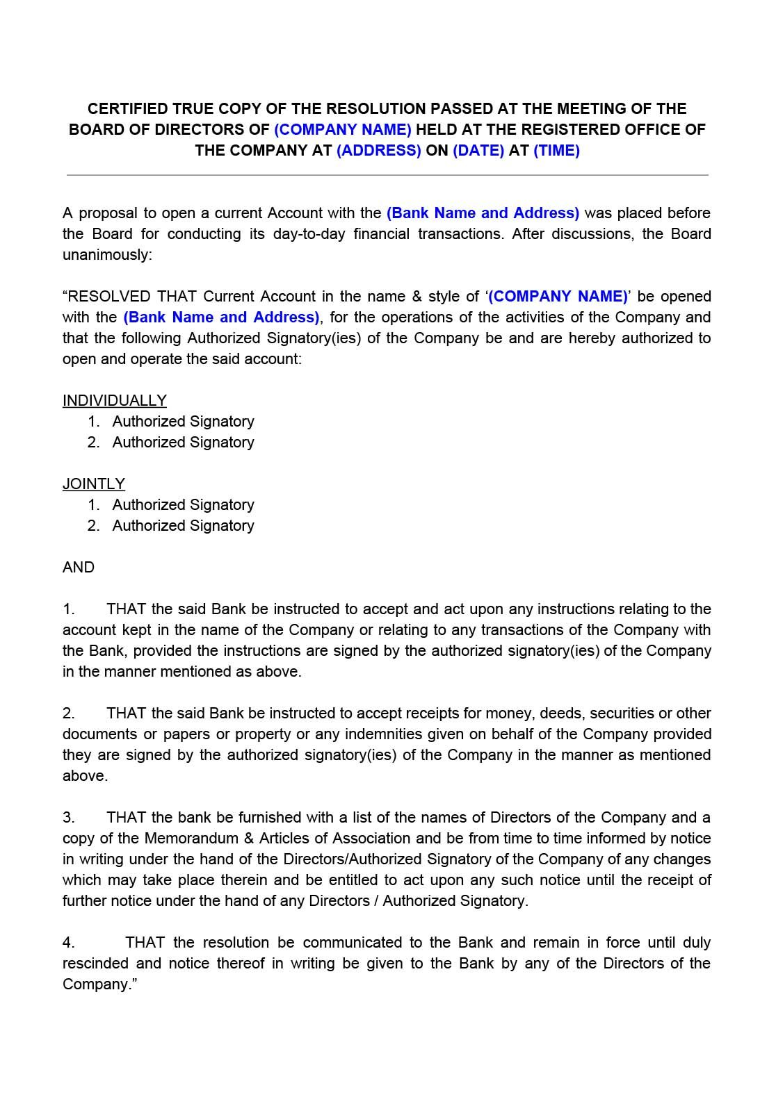 Board Resolution For Opening Bank Account Bank Account