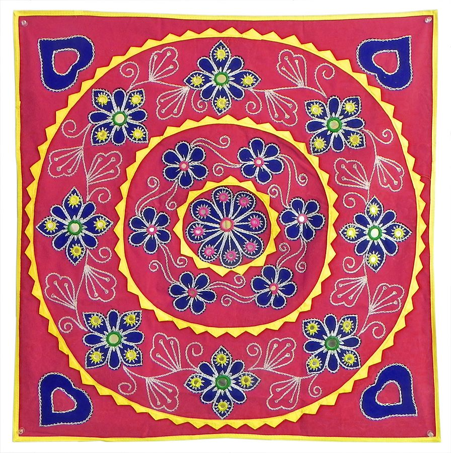 Cloth Wall Hangings appliqued and embroidered flowers on blue velvet cloth - (wall