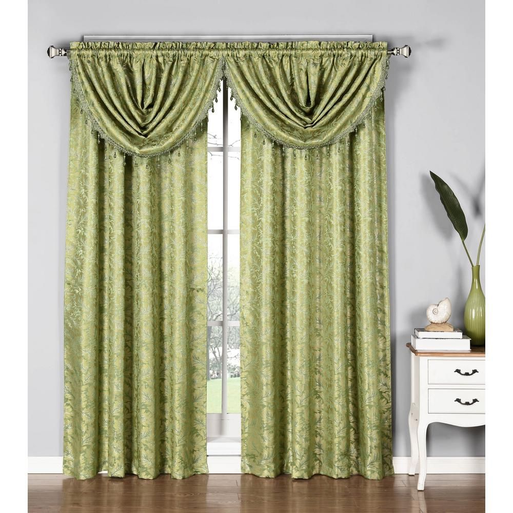 incredible Sage Green Window Valance Part - 7: Window Elements Dawson Shimmering Leaf 19 in. W x 44 in. L Waterfall Window  Valance in Sage (Green)