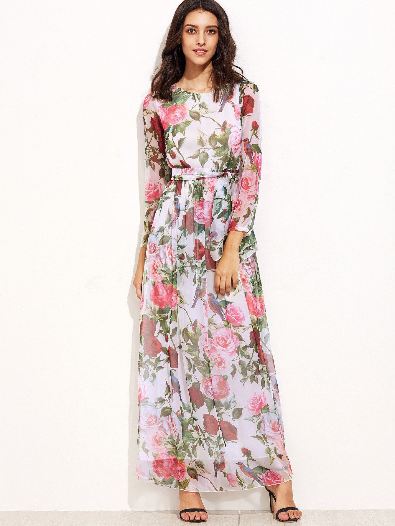 Multicolor floral chiffon maxi dress products pinterest floral