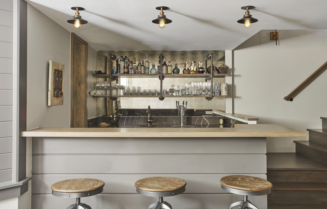 Ukrainian Village Townhouse Bar With Builtin Tap And Antique Mirror