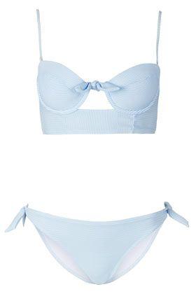 Blue Stripe Triangle Bikini -topshop