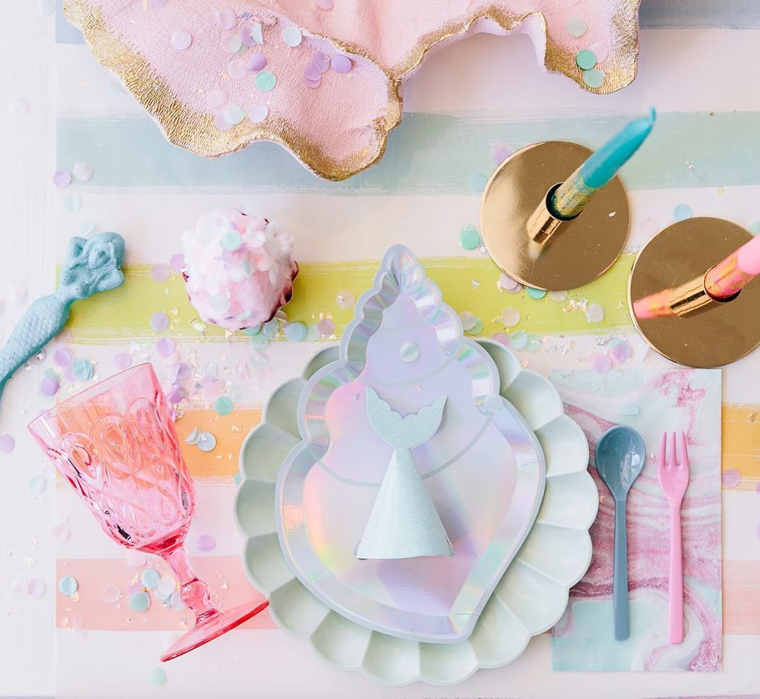 Mermaid Themed Party Supplies With Shell Paper Plates Are Just The