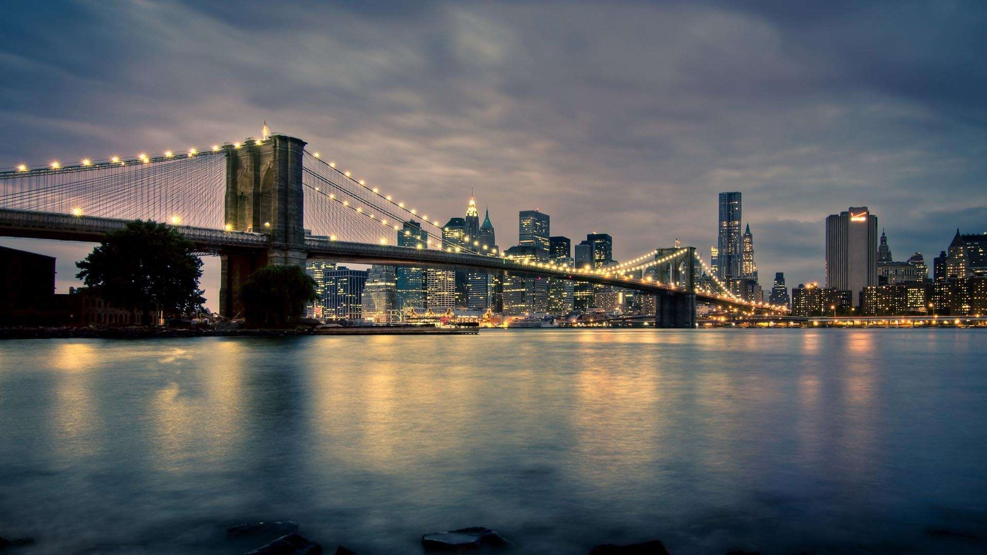 Brooklyn Bridge At Night New York United States USA city