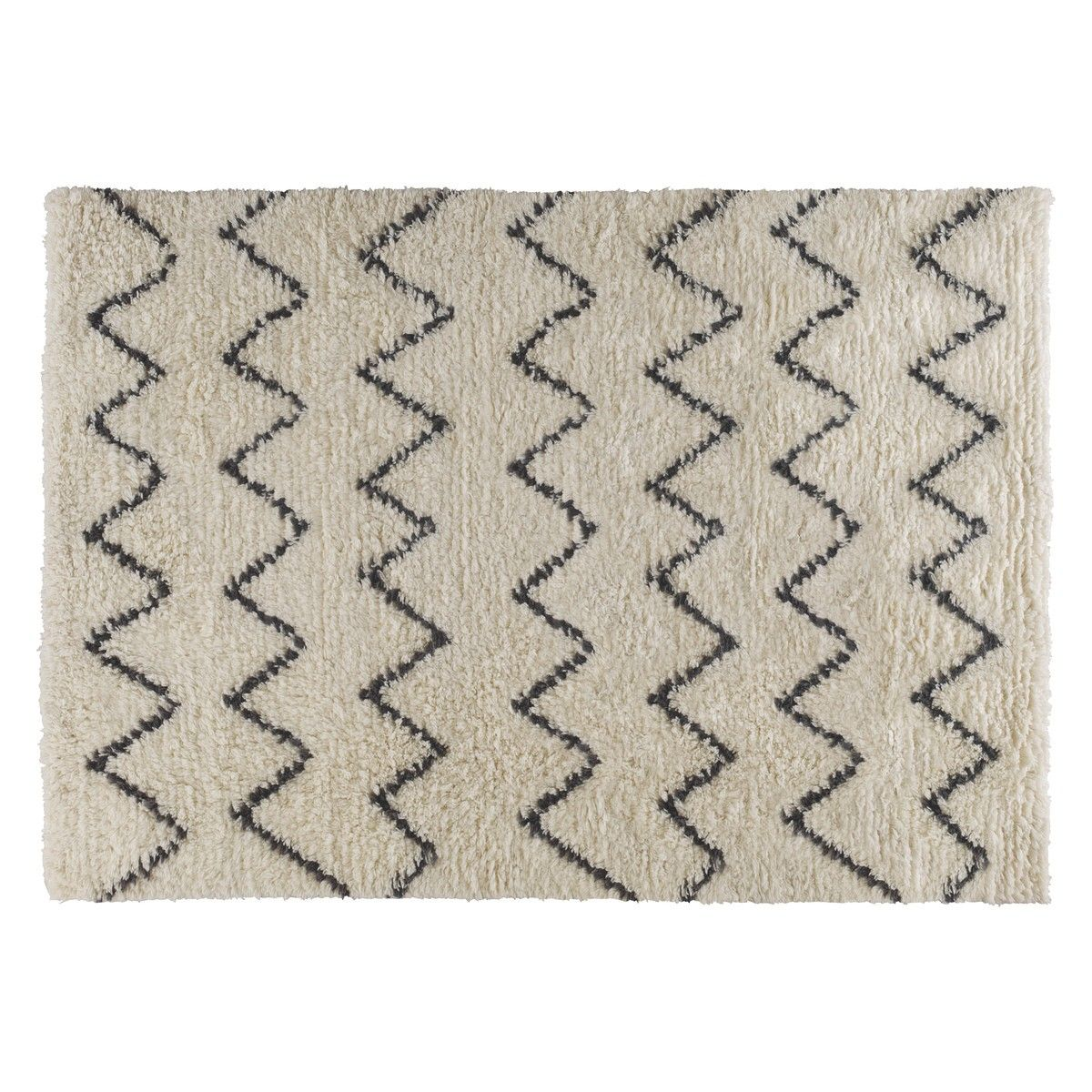 Flokati Large Cream And Black Zig Zag Rug 170 X 240cm Now At Habitat Uk