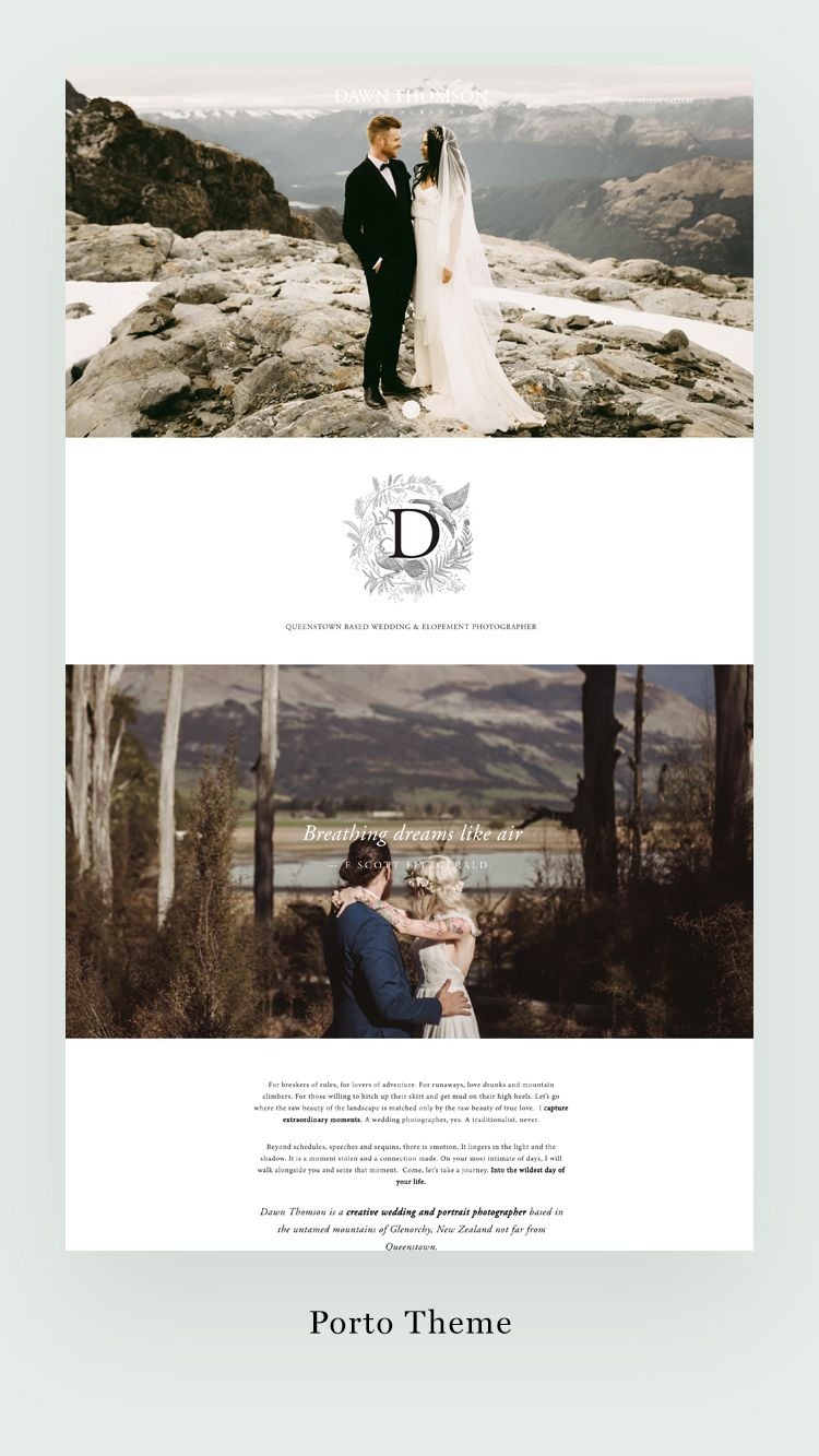 Gorgeous Wedding Photography Website Design Built By Dawn Thomson With Our Porto Theme Is One Of Best Ing Most Por Themes
