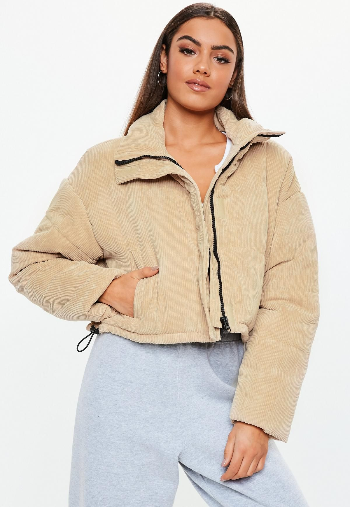 cd1efe6adb2 Beige Cord Crop Puffer Jacket in 2019 | outfit Inspo | Jackets ...