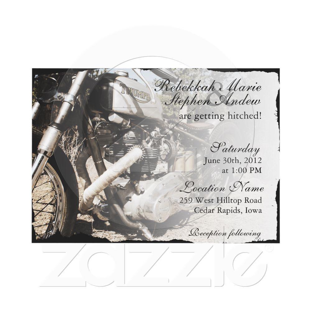 Custom Motorcycle Biker Wedding Invitation | Weddings, Wedding and ...