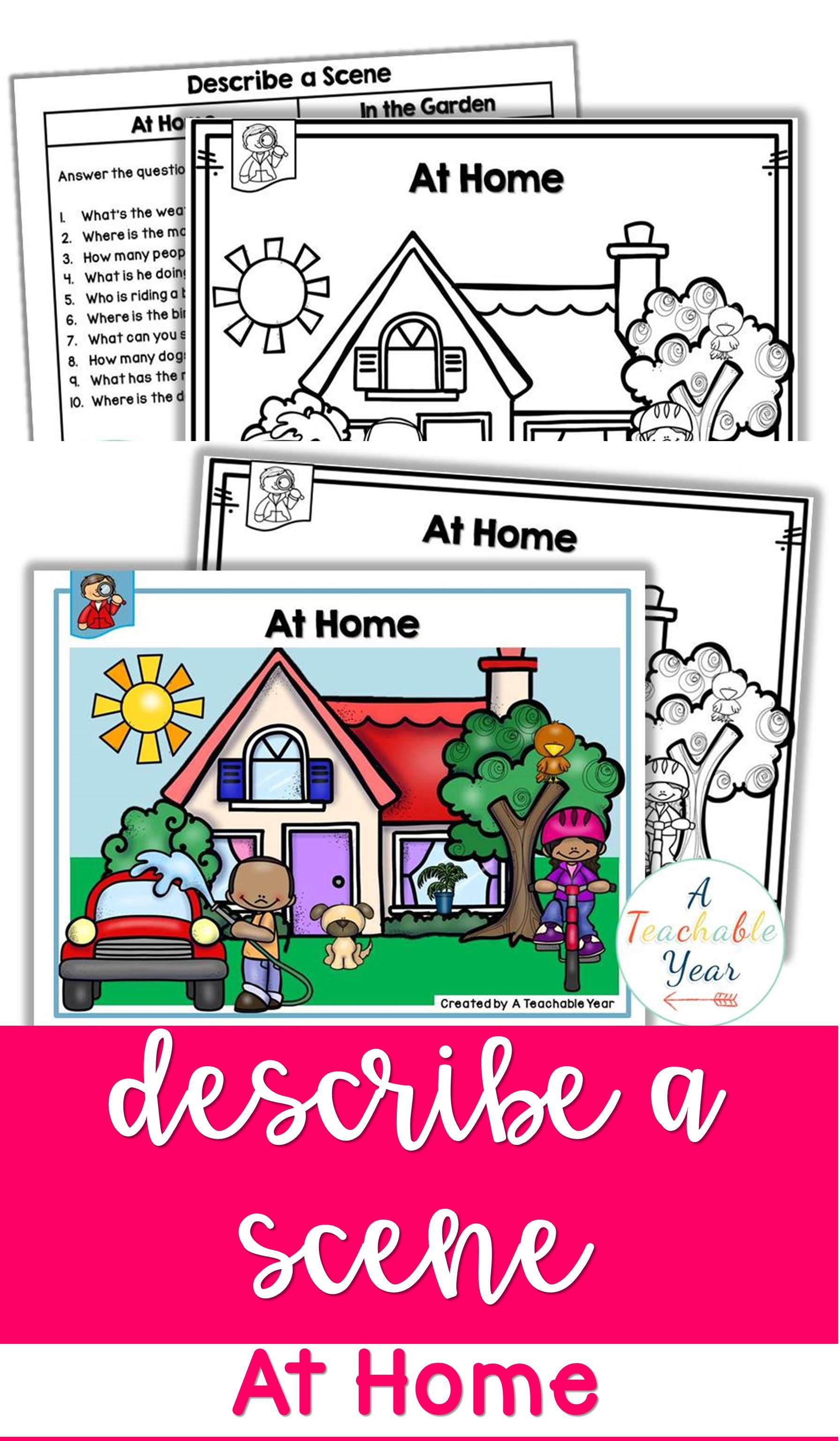 Describe A Scene Mats At Home In 2020 Describing Words Answering Questions Activities This Or That Questions