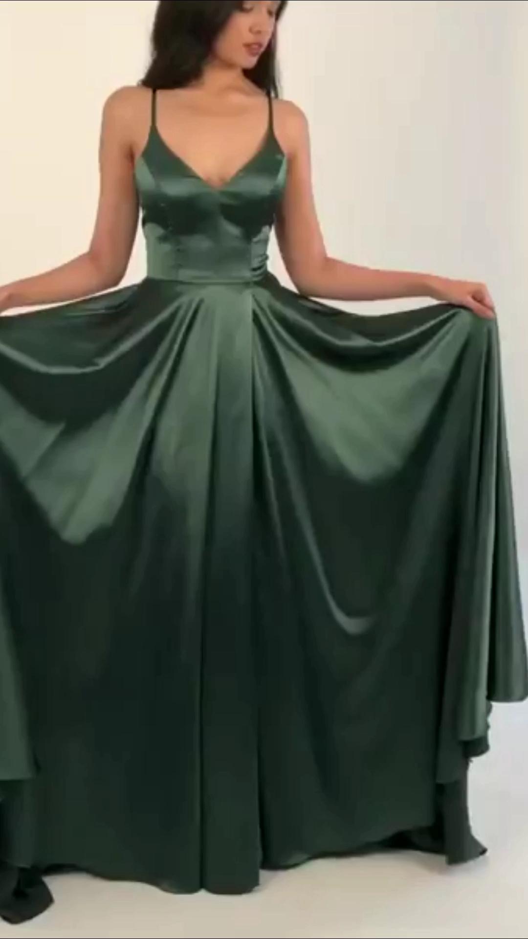 Abendkleid Lang Dunkelgrün Seide - Abendkleid Ballkleid Lang