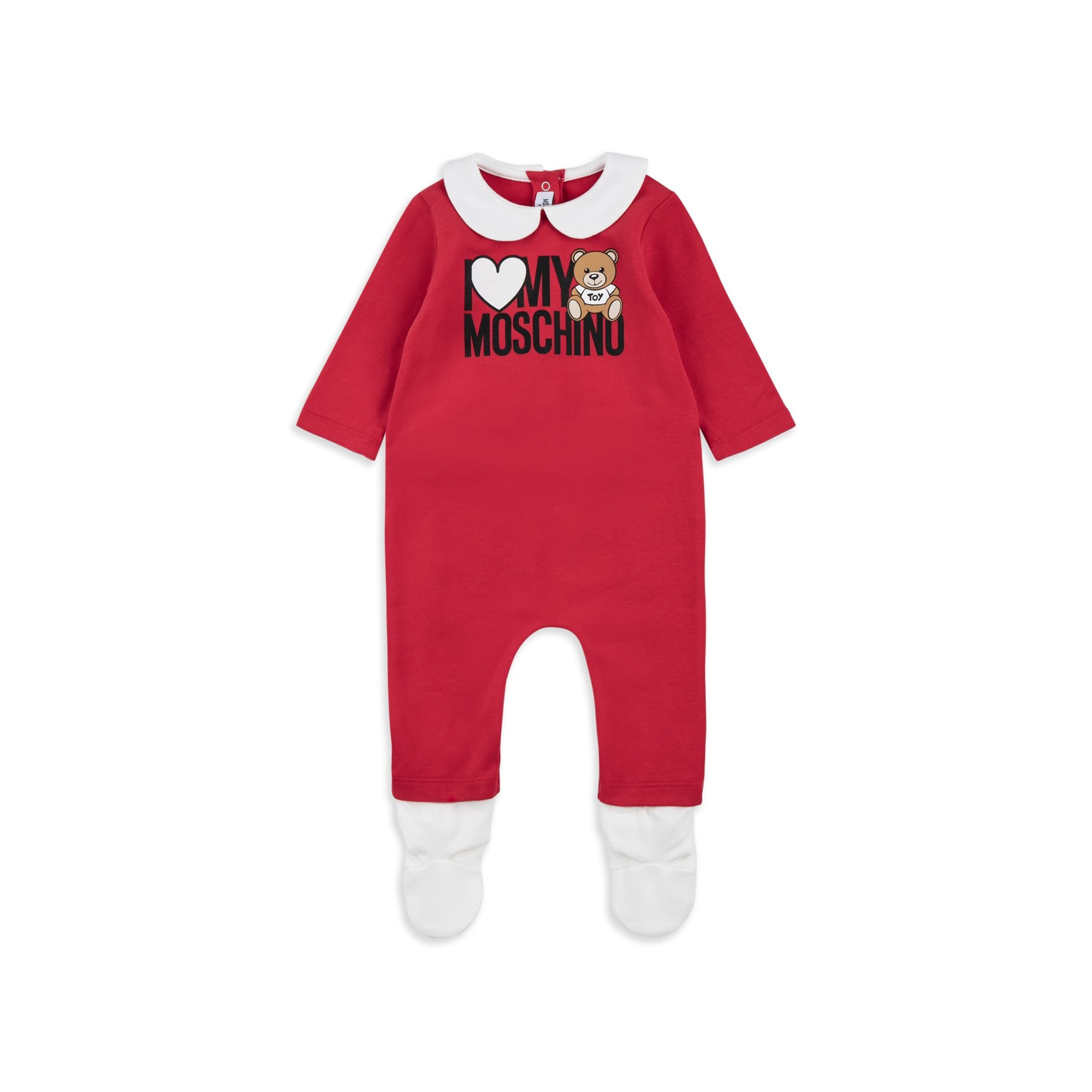 5841748a7 MOSCHINO Baby Girls Teddy Heart Coverall - Red Baby girls coverall • Soft  cotton jersey • Popper fastenings • Peter-Pan collar • Teddy heart logo  graphic ...