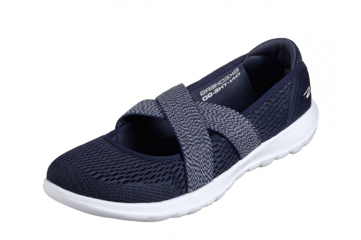 8542bac55f950 Skechers Go Walk Lite Cutesy Navy White Mary Jane Comfort Shoes ...