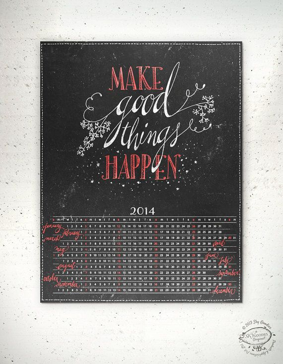 2014 Printable Wall Calendar Make Good Things by SkyGoodies, $199