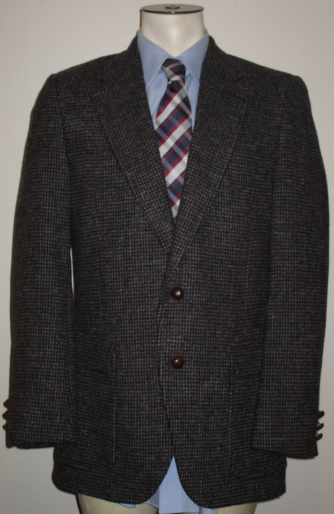 Men's Harris Tweed Sport Coat 100% Wool - 38L - Blue Gray Check ...