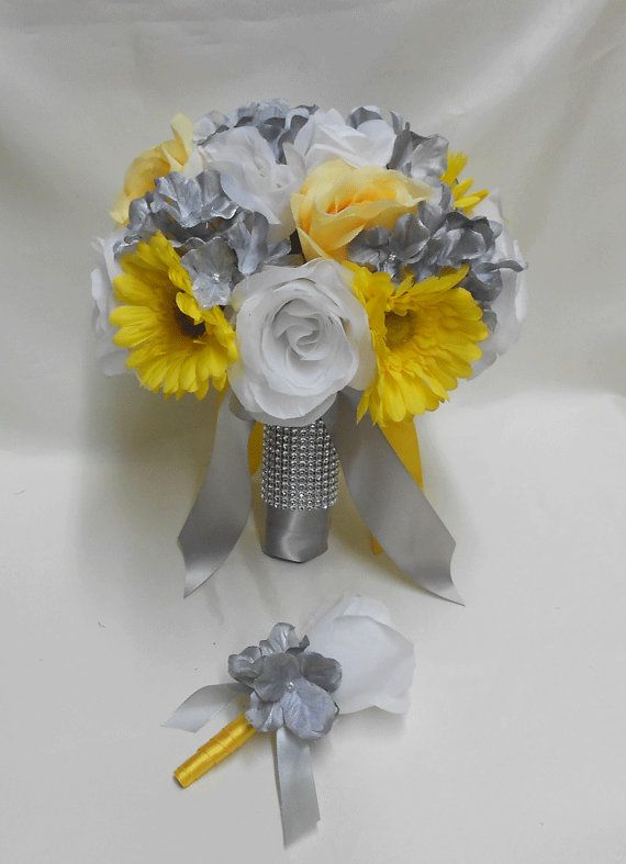 Wedding bridal brides bouquet silk flowers yellow daisy white rose wedding bridal brides bouquet silk flowers yellow by bellinablue 5400 mightylinksfo