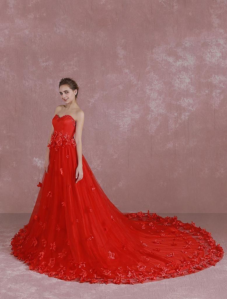 Milanoo milanoo red wedding dress sweetheart strapless
