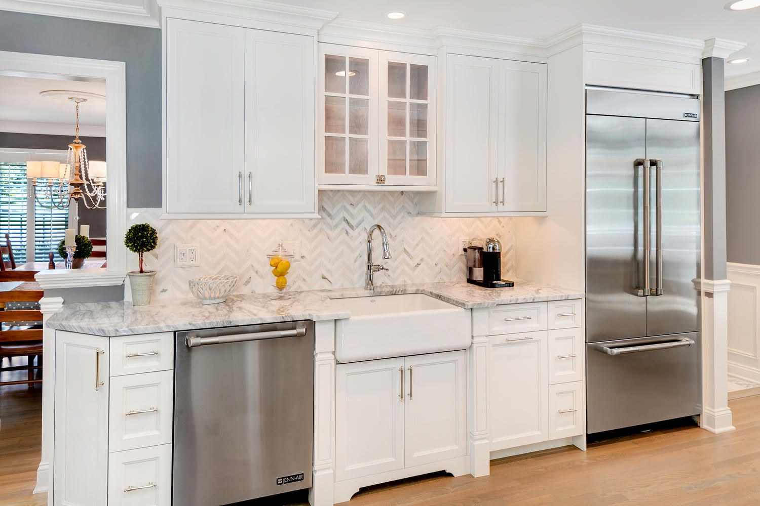 Timeless Grey And White Kitchen In Middletown Gray And White Kitchen White Shaker Kitchen Cabinets White Kitchen Hood