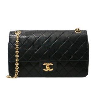 c9f1ddbb5c4a4d Chanel Classic Vintage Quilted Bijoux Chain Medium Flap Black Lambskin  Leather Shoulder Bag - Tradesy