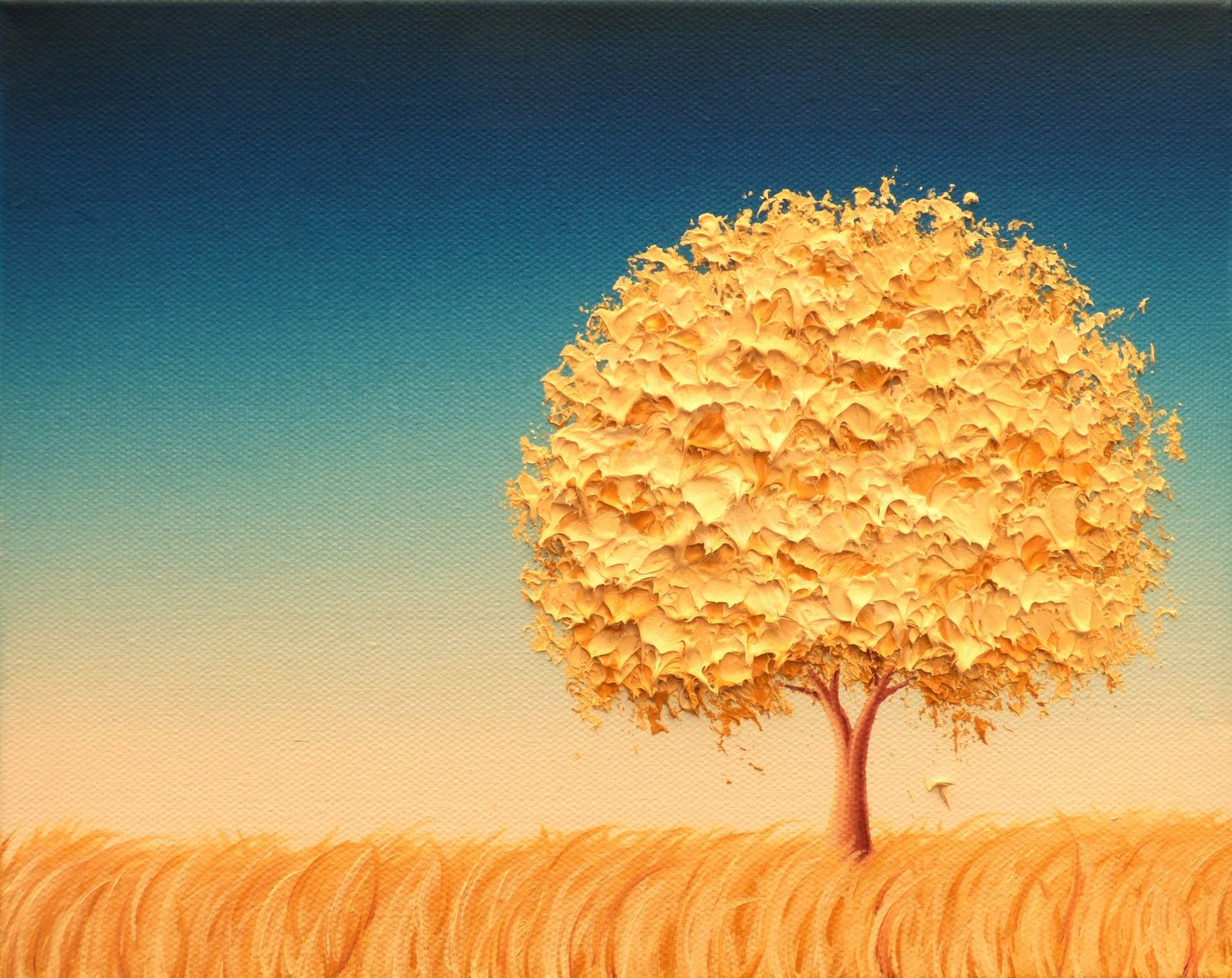 Affordable Modern Art Print Gold Tree Minimalist Living Room Decor Mid