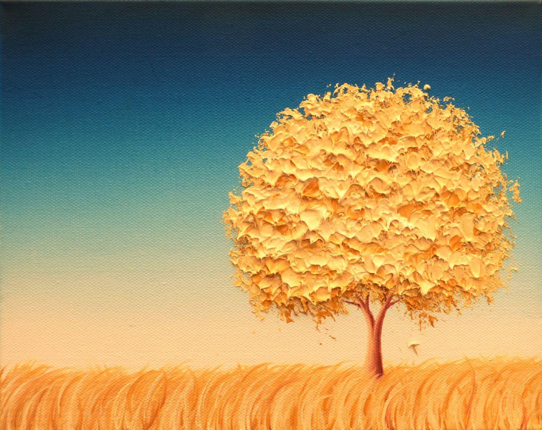 Contemporary Modern Art Print, Gold Tree Art Print, Minimalist ...
