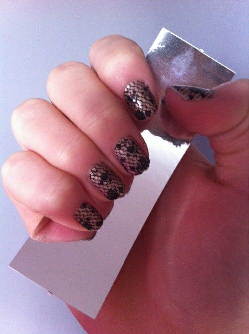 black lace wedding funeral nails