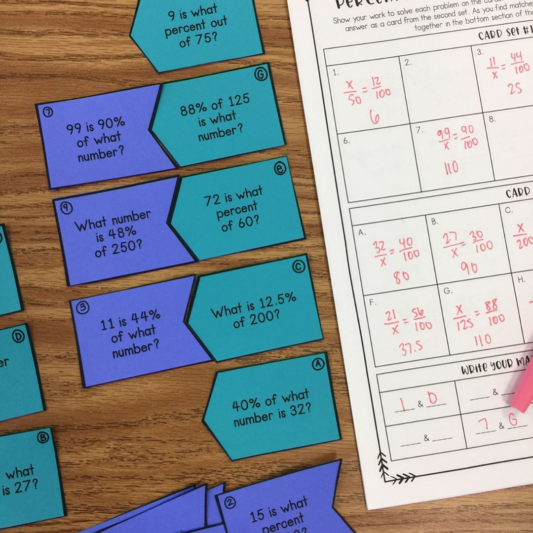 Middle School Math Matching Activities