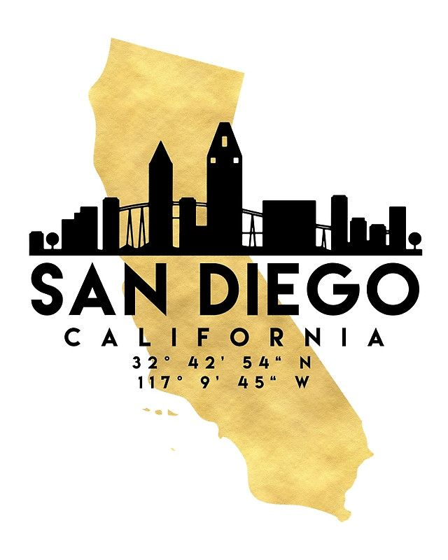 SAN DIEGO CALIFORNIA SILHOUETTE SKYLINE MAP ART - The beautiful silhouette skyline of San Diego and the great map of California in gold, with the exact coordinates of San Diego make up this amazing art piece. A great gift for anybody that has love for this city. san diego california downtown silhouette skyline map coordinates souvenir gold