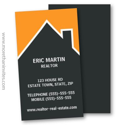 Real Estate Business Card Dark Gray House Outline Or Silhouette Against An Oran Business Card Design Creative Construction Business Cards Business Card Design