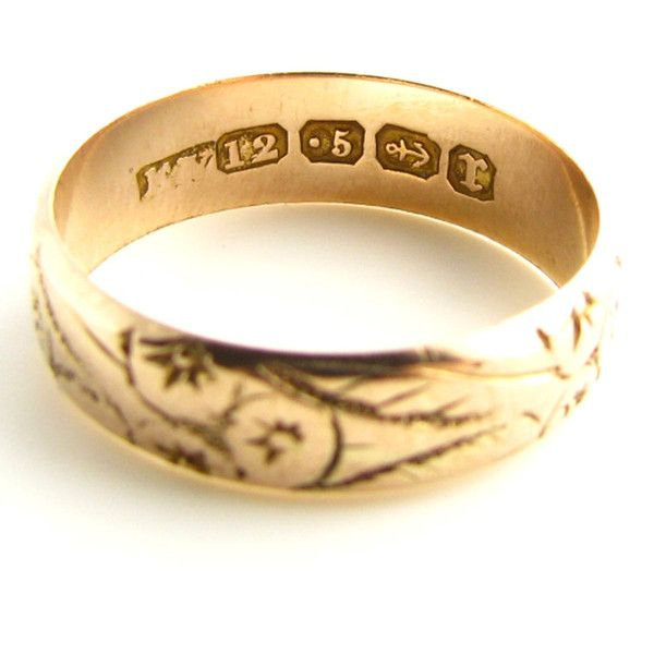 This Antique Wedding Band From Victorian Times Features Etched Rose Gold Ring Was Made In Birmingham 1891 And Is About 123 Years Old