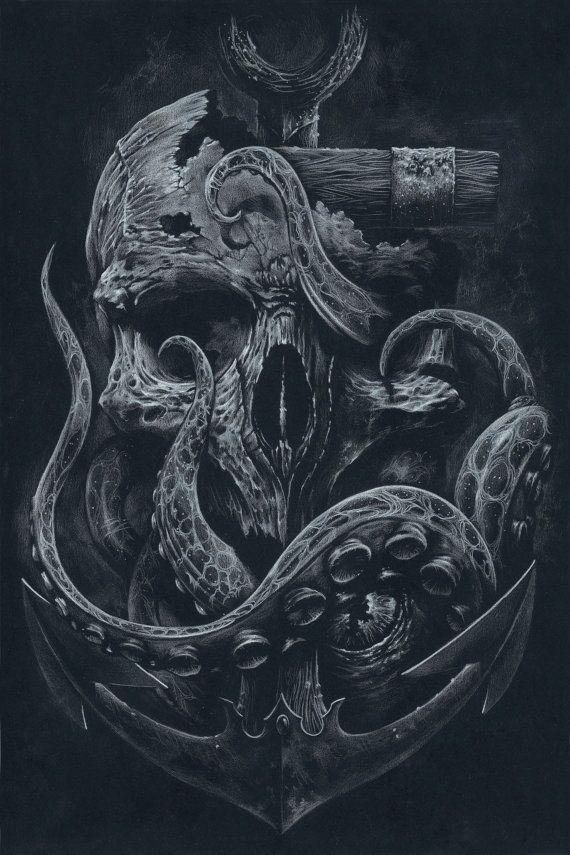 die locker benutzerdefinierte drucken octopus skull von grabinkart tattoos pinterest. Black Bedroom Furniture Sets. Home Design Ideas