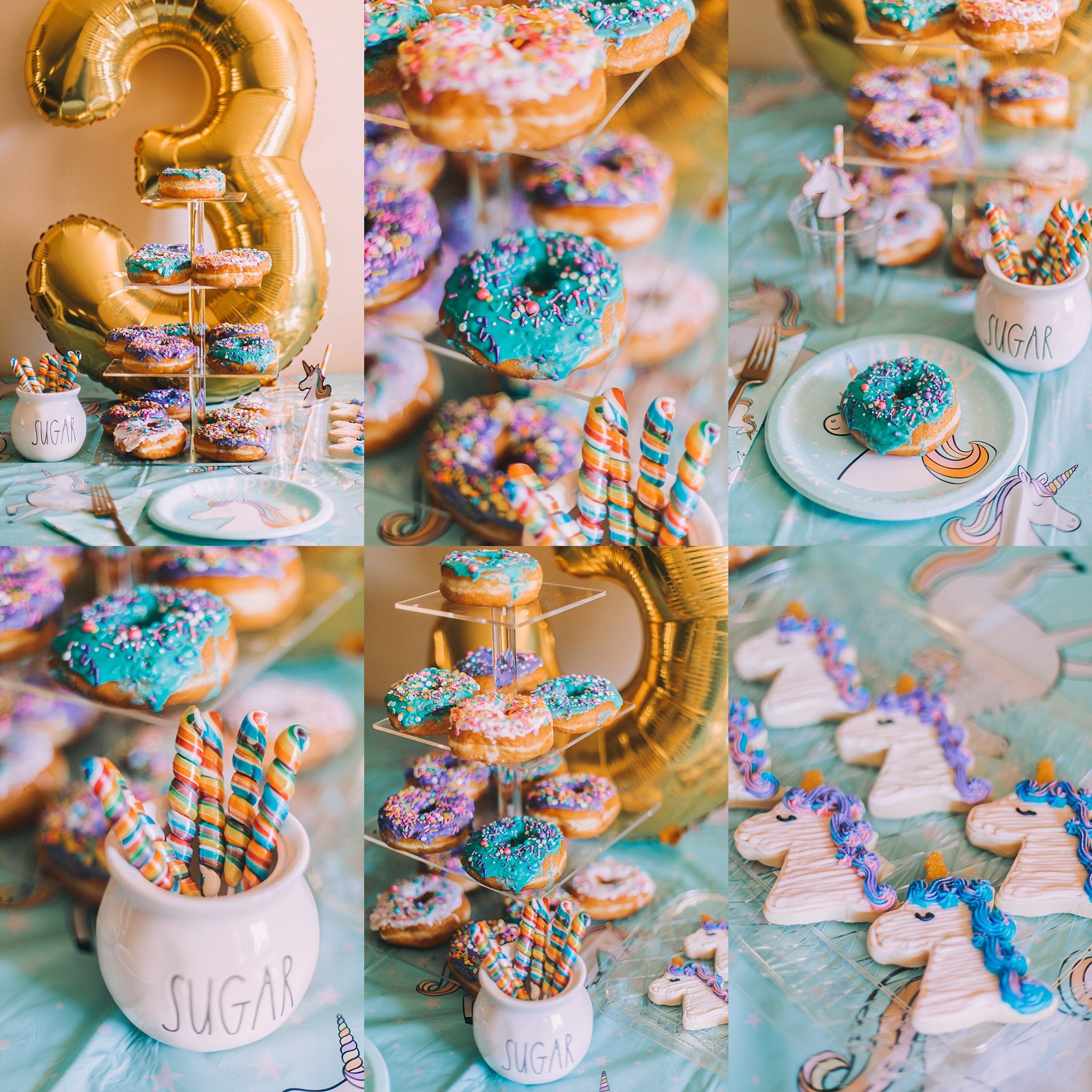 Unicorn Birthday Party, themed donuts, sprinkles, unicorn lollipops