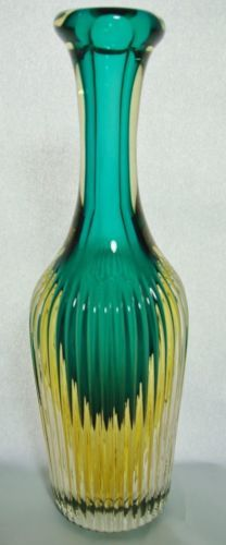 Flavio-Poli-Attributed-Murano-Sommerso-Art-Glass-Ribbed-Vase-Bottle-MCM-Italy