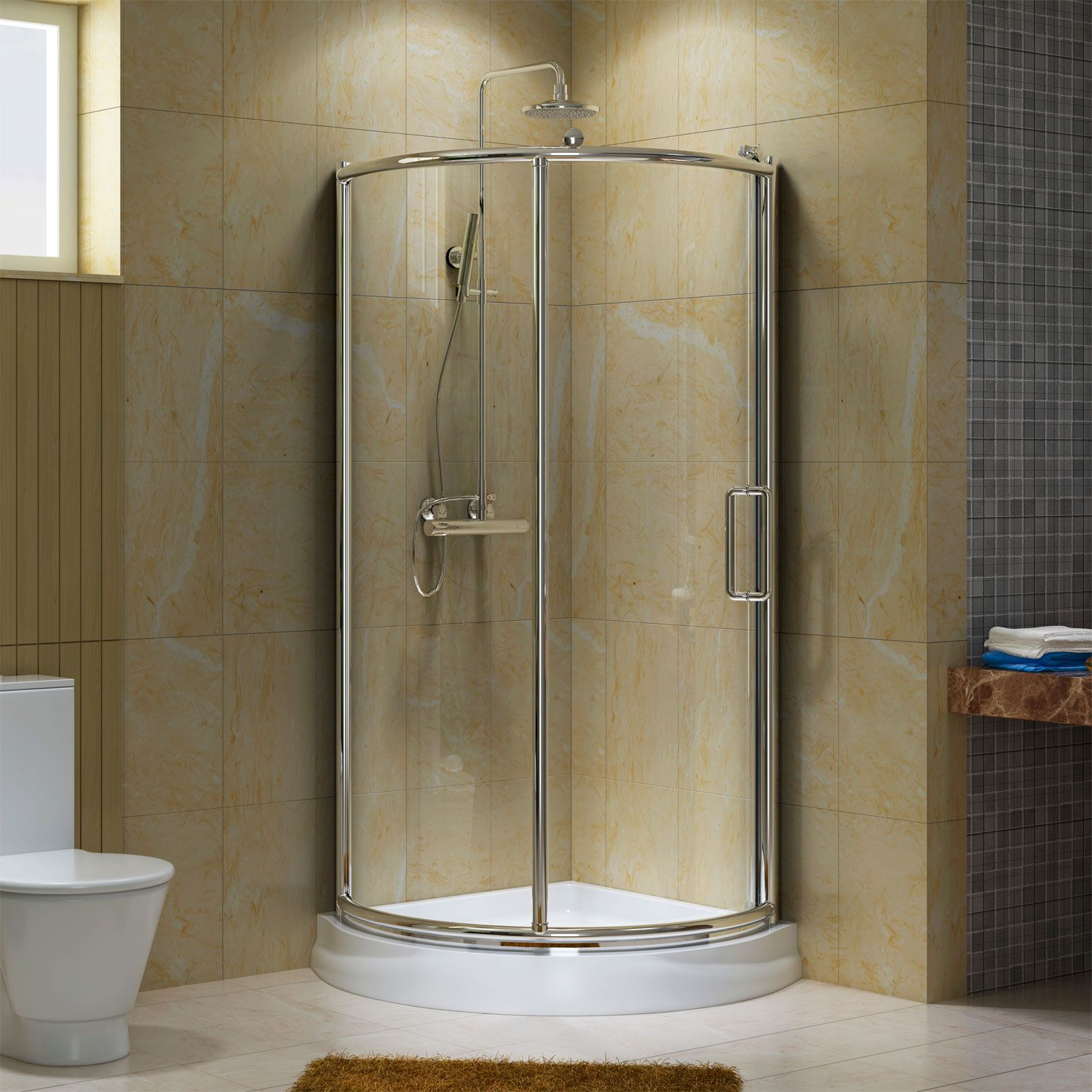 38 webber corner shower enclosure small bathroom for Bathroom designs with corner bath