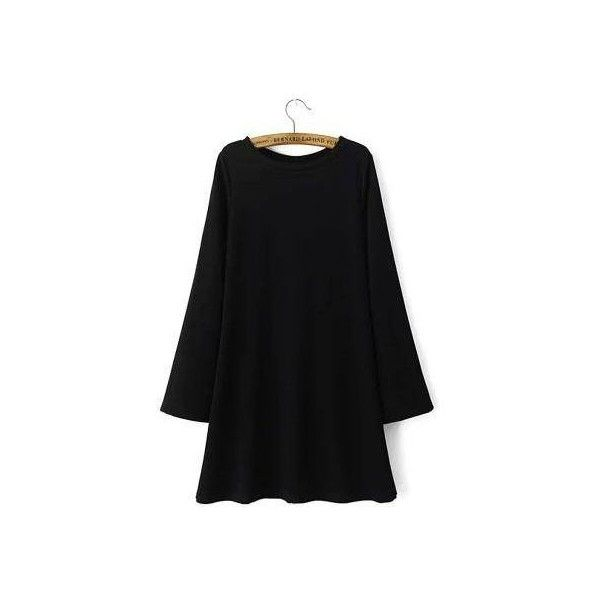 Black Dress with Bell Sleeve ($37) ❤ liked on Polyvore featuring dresses, flare dress, black bell sleeve dress, black dress, black day dress and black flare dress