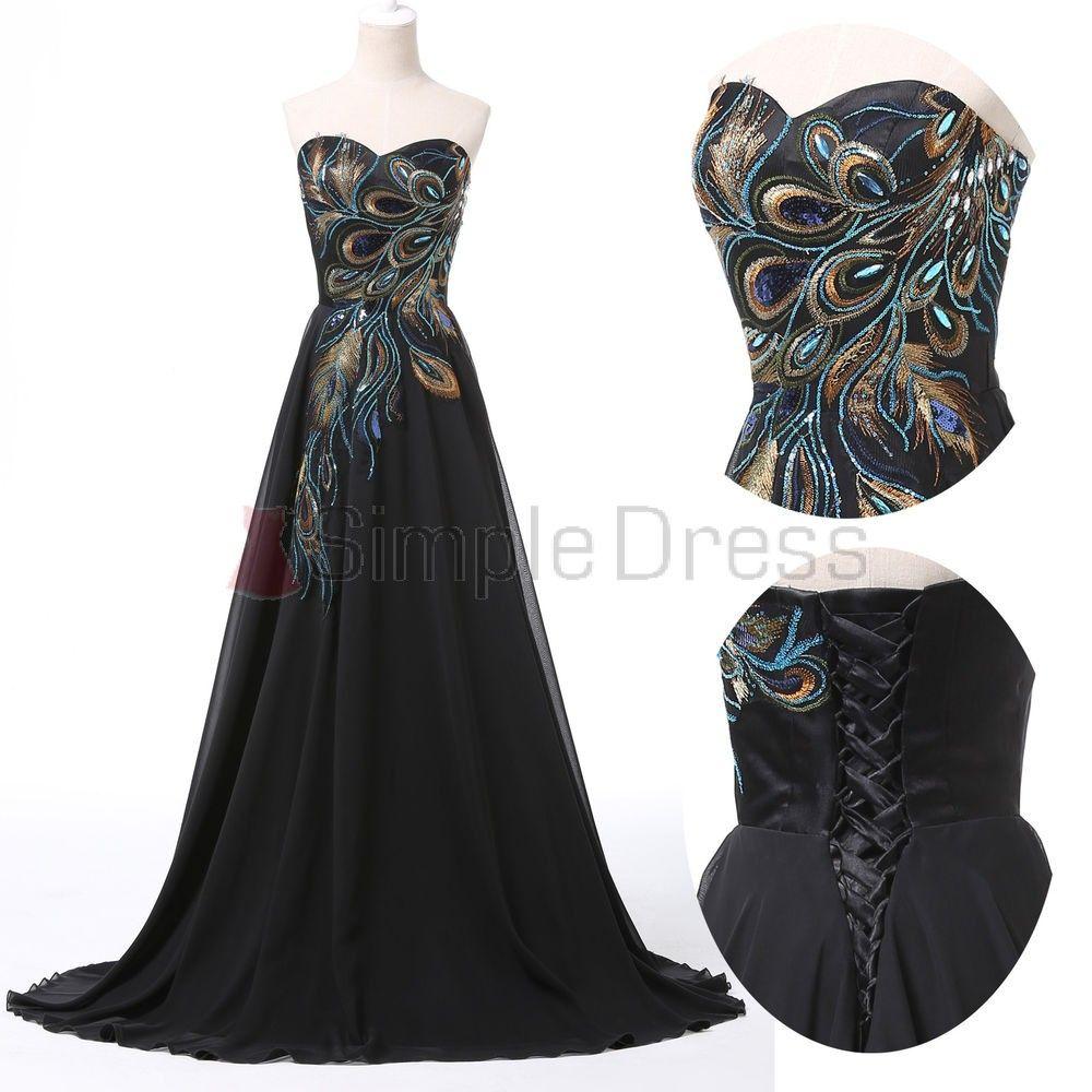 Simple-dress Princess Strapless Peacock Embroidery Black Chiffon Prom Dresses/Evening Dresses/Formal Dresses CHPD-7411