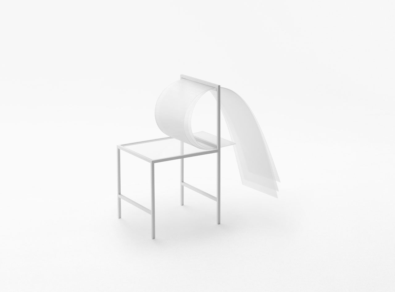 Japanese design house nendo created a line of furniture from polycarbonate sheets that were layered and bent to form softness.