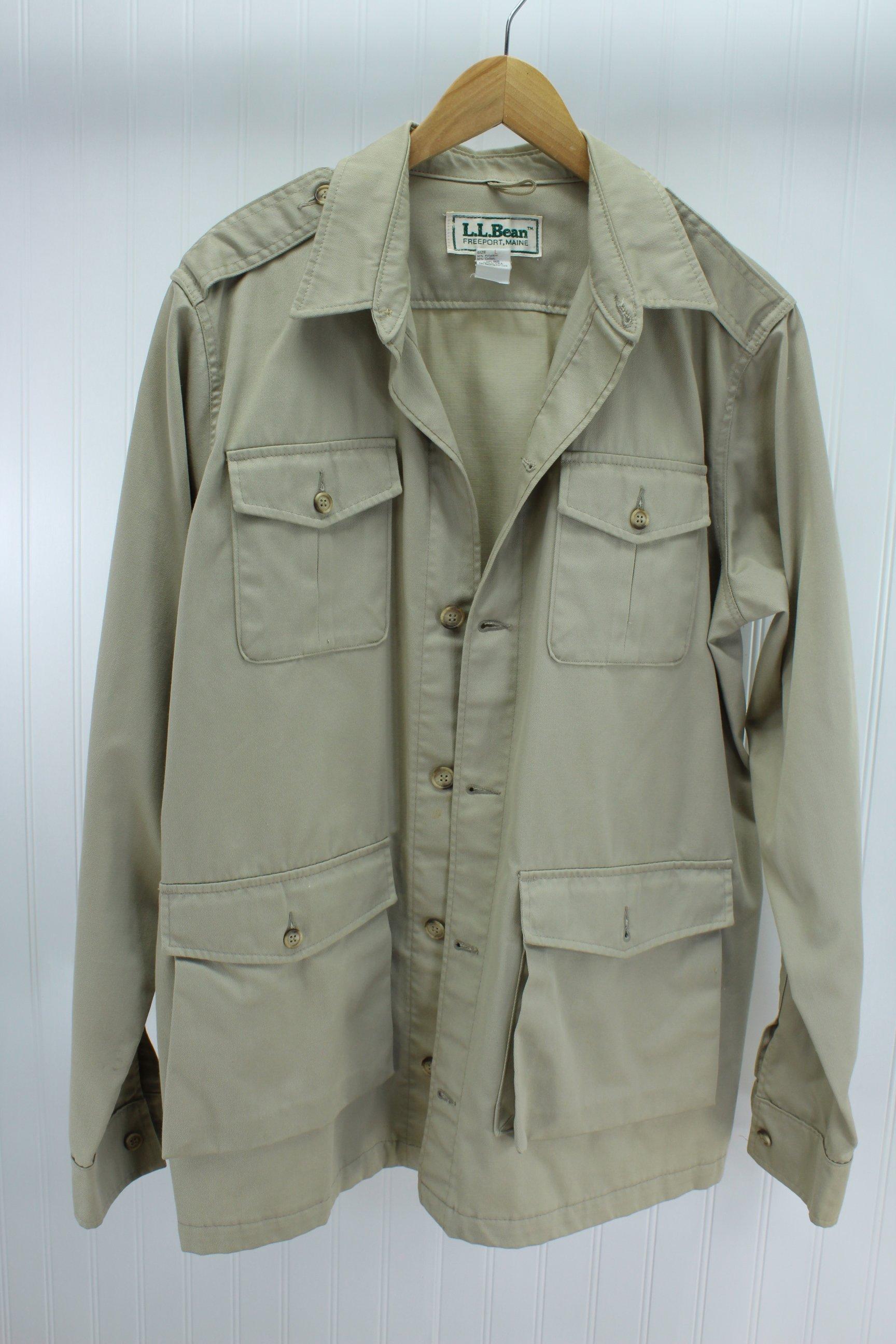 8728d26275dc3 L L Bean Khaki Safari Jacket Unlined Vintage Mens Large Long Cotton Poly  Twill