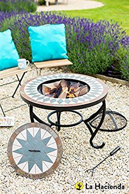 La Hacienda Tiled Firepit Table With Grill Centre Lid Fire Pit Decor Portable Fire Pits Fire Pit Area