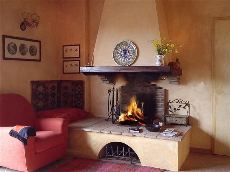 Camini In Mattoni Rossi : Camini rustici lavorazione artigianale con pietre mattoni e legno