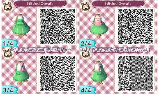 Striped Overalls Version 2 Animal Crossing Animal Crossing Qr