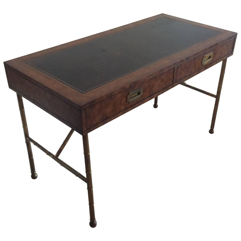 Mastercraft Brass Vintage Burl Wood Faux Bamboo Desk Campaign