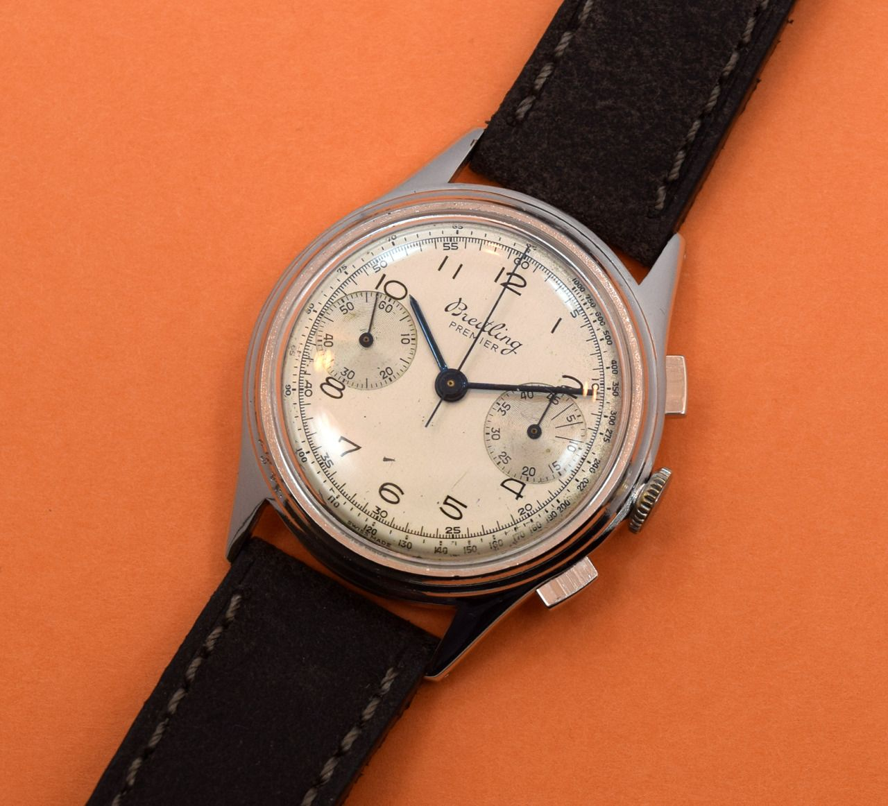 A 1950's era Breitling Premier 2 Register Chronograph Ref. 190. This stainless…