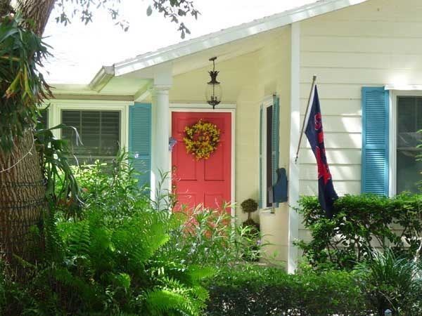 Yellow House Blue Shutters Red Door Exterior House Colors