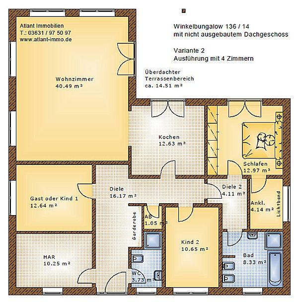 Winkelbungalow 136 14 Einfamilienhaus Neubau Massivbau Stein auf ...
