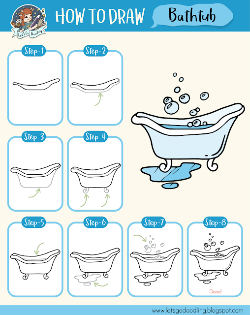 How To Draw Bathtub Easy Step By Step Drawing Tutorial Nursing