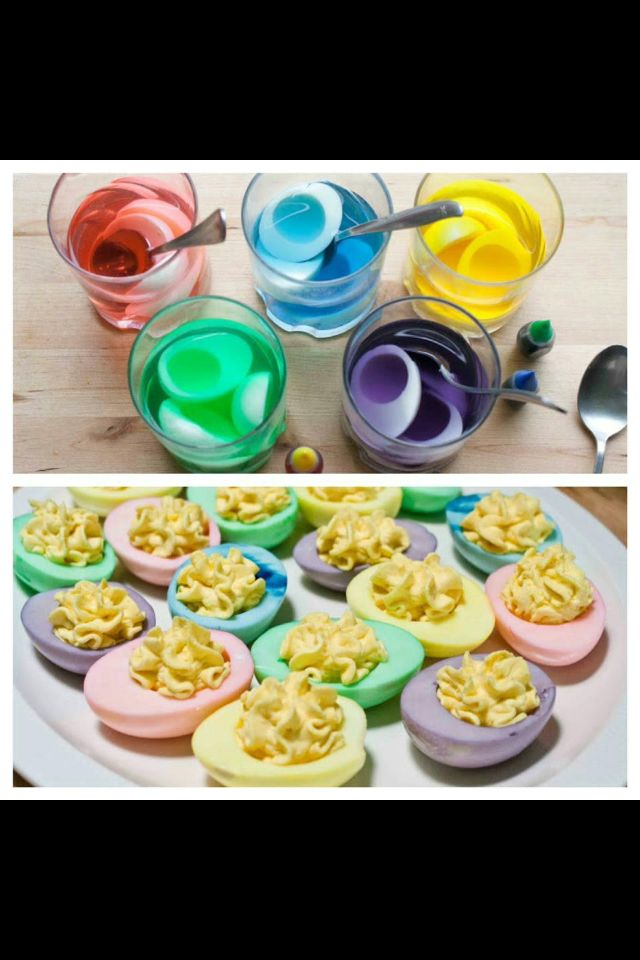 Colored deviled eggs recipes cooking dye easter appetizers food colored deviled eggs recipes forumfinder Images