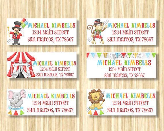Circus Carnival Return Address Labels Printable by LilyPieStudio - printable return address labels free