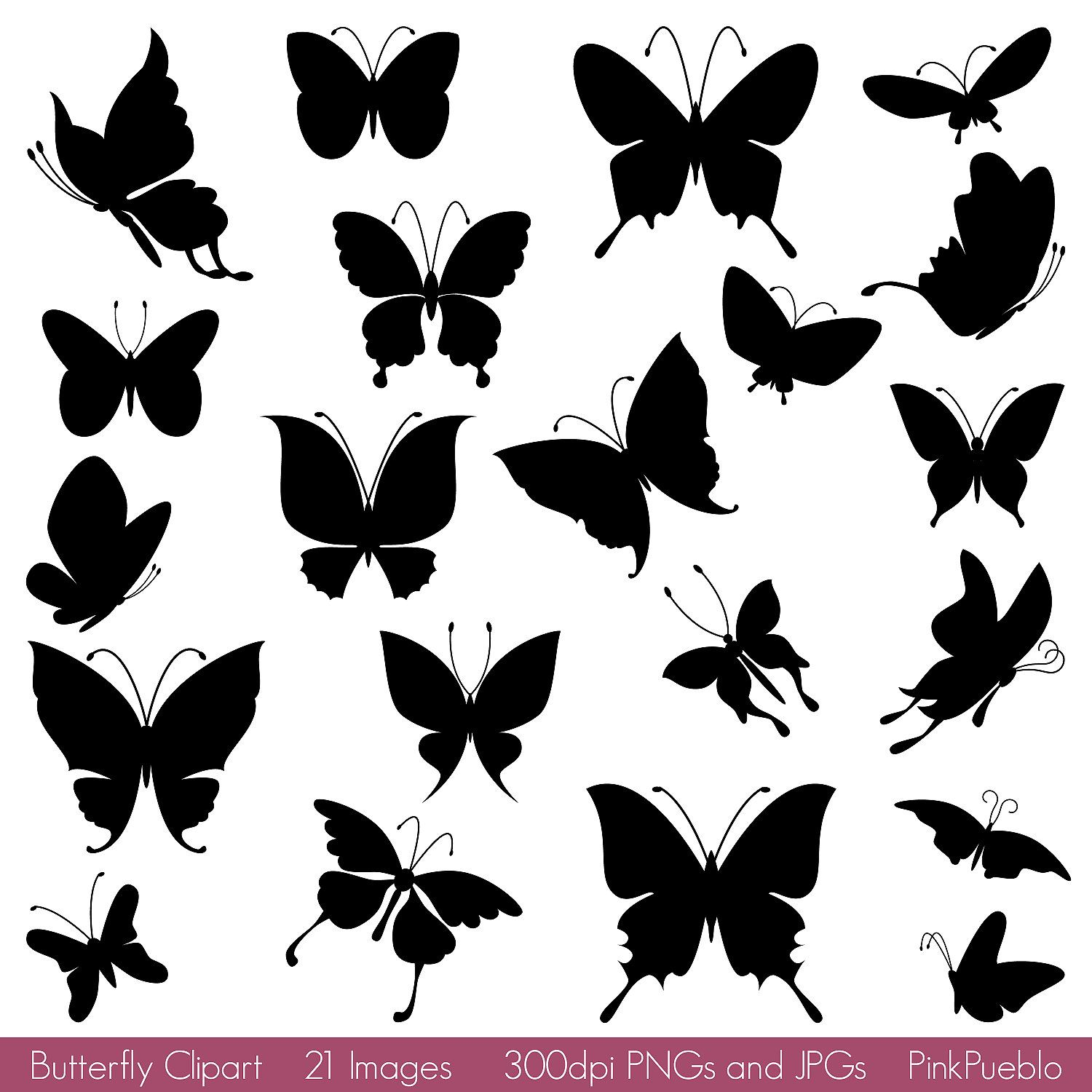 Butterfly Silhouettes Clipart Clip Art Butterfly Clipart Clip Etsy In 2021 Butterfly Silhouette Silhouette Clip Art Silhouette Art