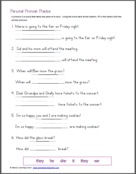Personal Pronoun Practice   Homeschool, Language arts and Language